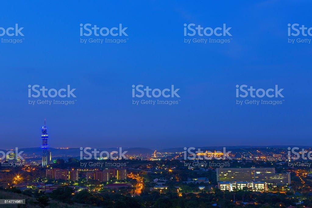Pretoria city lights at twilight stock photo