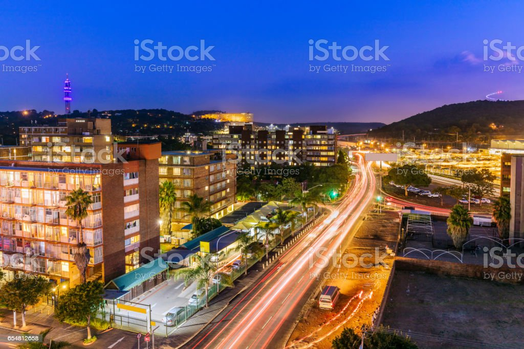Pretoria evening cityscape with UNISA and Freedom Park stock photo