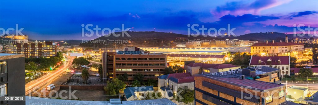 Pretoria evening cityscape with UNISA and Monuments stock photo