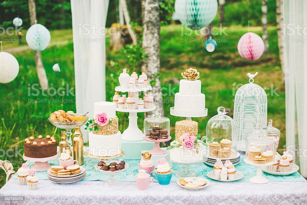 Prettiest wedding dessert table stock photo