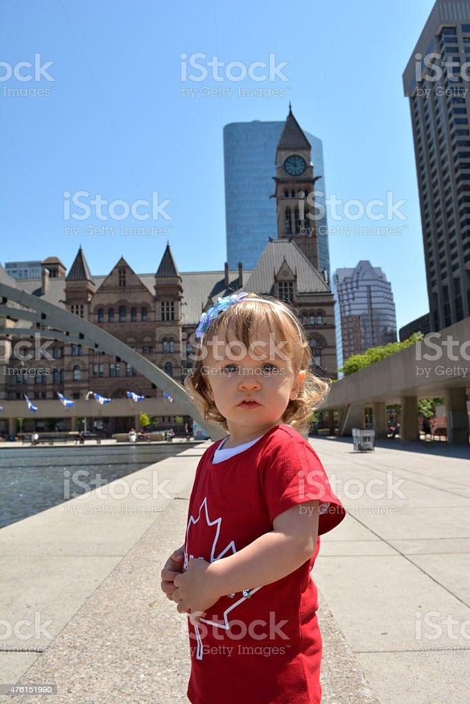 Pretty 2 year old girl in Toronto. stock photo