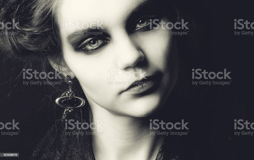 Pretty adult girl with beauty curly hairstyle royalty-free stock photo