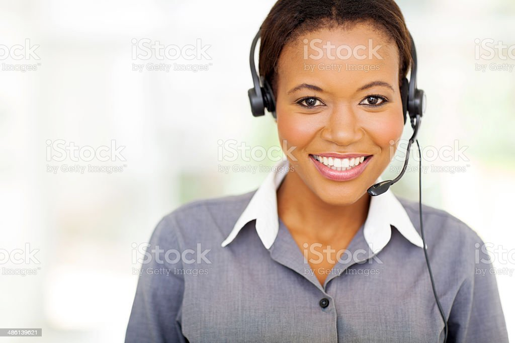 pretty african american call center operator stock photo