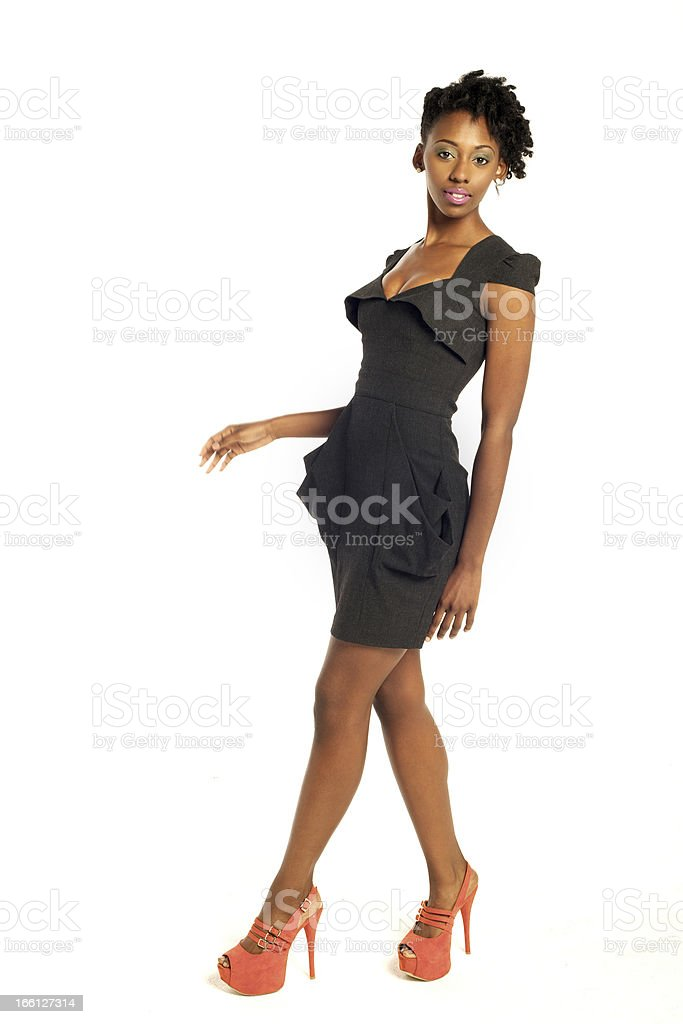 Pretty African American woman in dress royalty-free stock photo