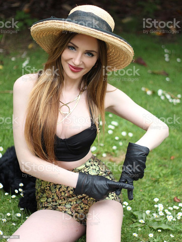 Pretty and Pale hat girl  doing a hip hand sign stock photo