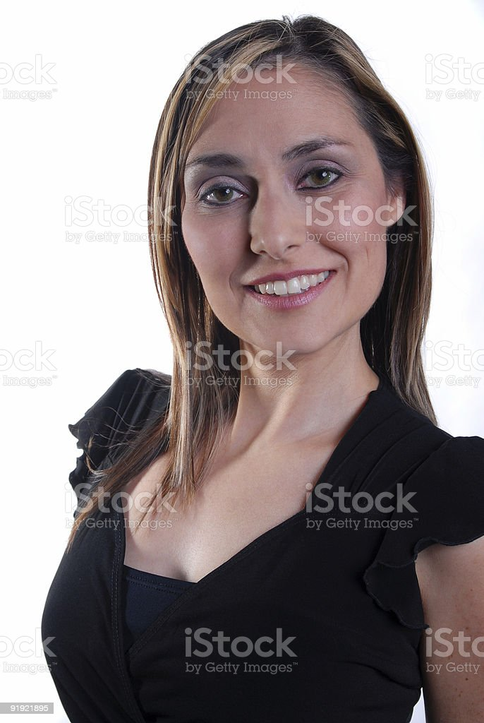 Pretty and Petite in Black Dress stock photo