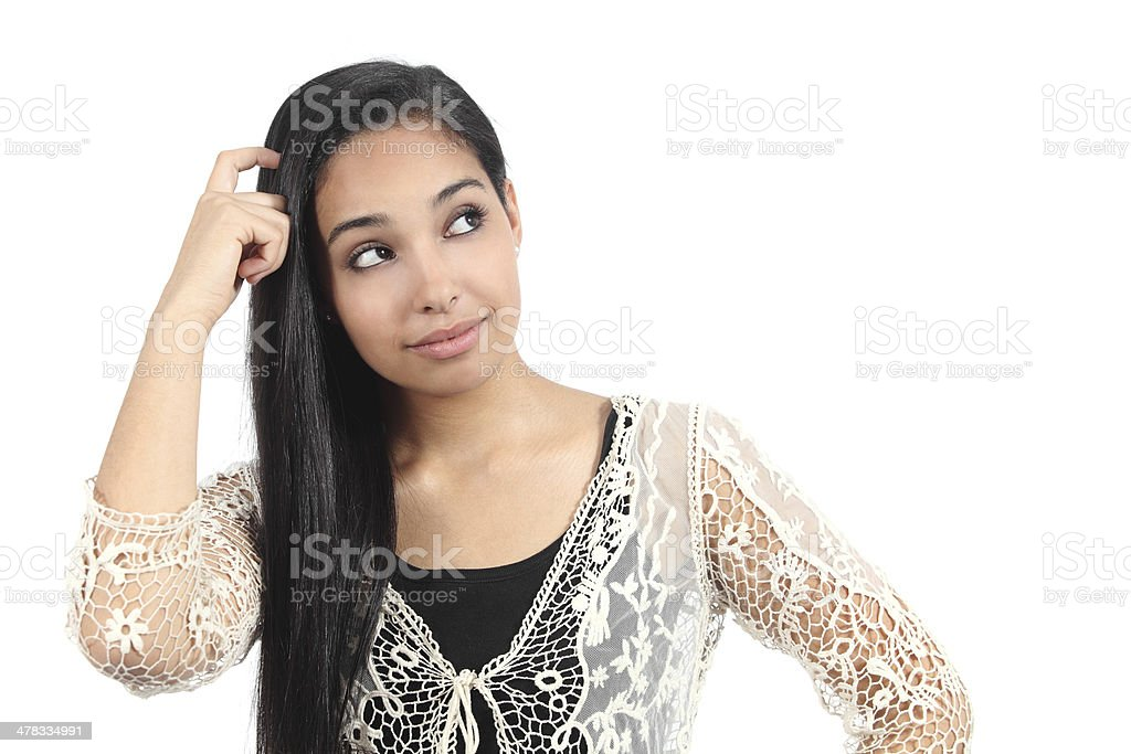 Pretty arab woman with a doubt royalty-free stock photo
