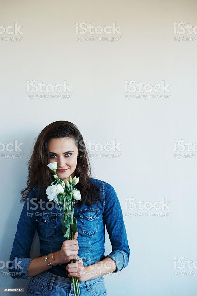 Pretty as a flower stock photo