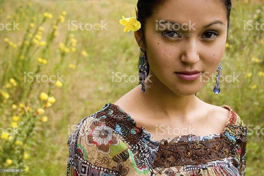 Pretty Asian Flower Girl royalty-free stock photo