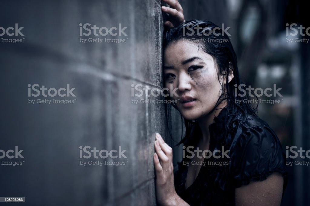 Asian Young Woman Portrait, Crying in Rain, Copy Space royalty-free stock photo