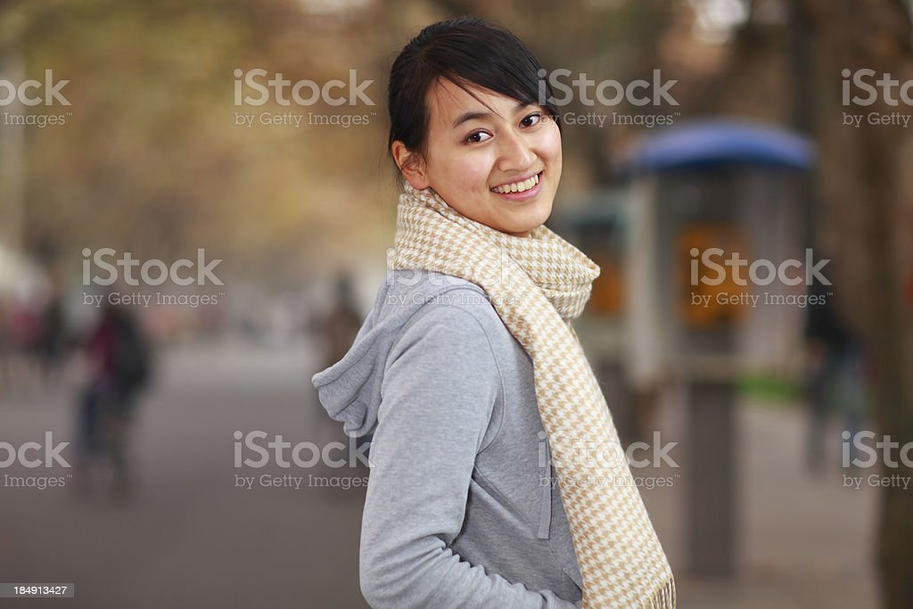 pretty asian teen girl looking at camera smile royalty-free stock photo