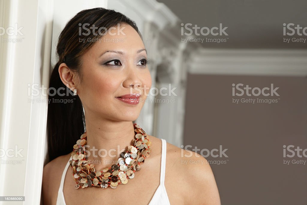 Pretty Asian Woman Looking To Right royalty-free stock photo