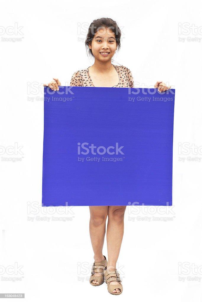 Ładny Asian dziewczynka z fioletowy board zbiór zdjęć royalty-free