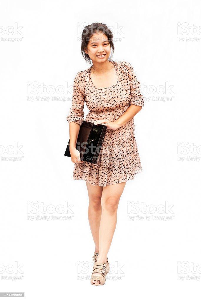 Ładny asian dziewczynka z notebooka zbiór zdjęć royalty-free
