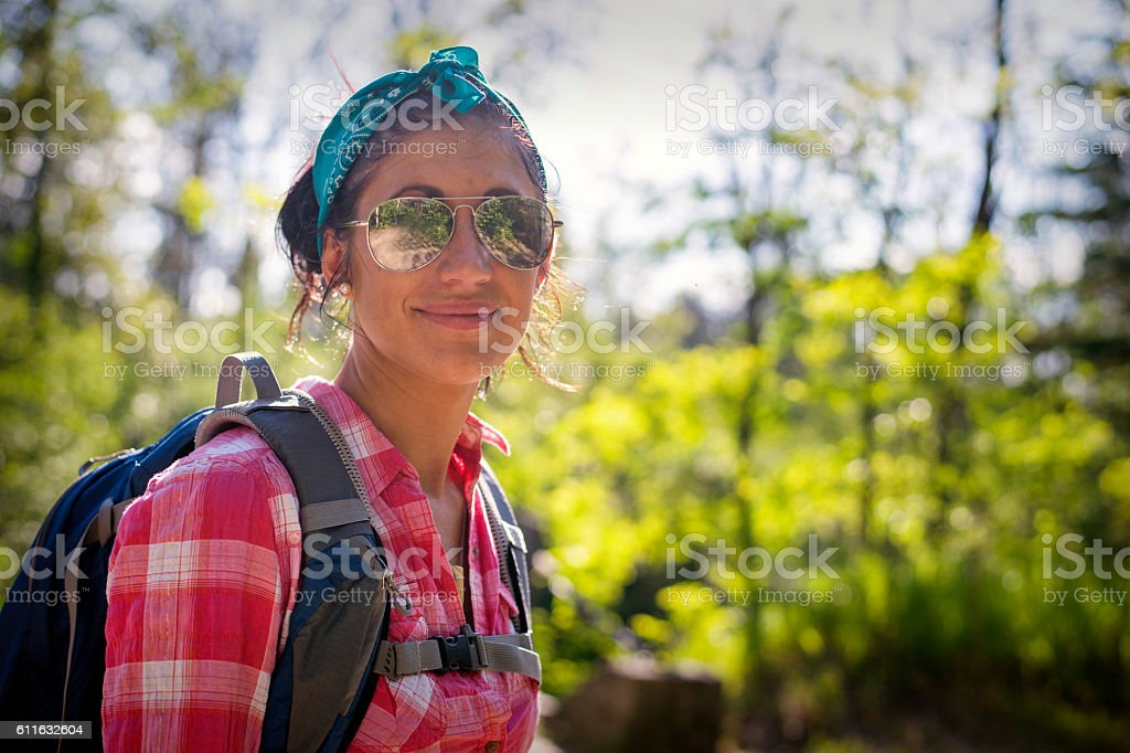 Pretty Backpacking Woman stock photo