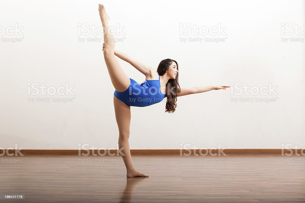 Pretty ballet dancer holding a pose royalty-free stock photo