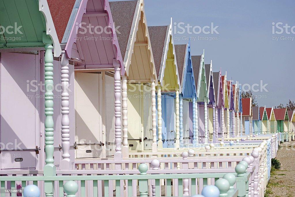 pretty beach huts on the coast royalty-free stock photo
