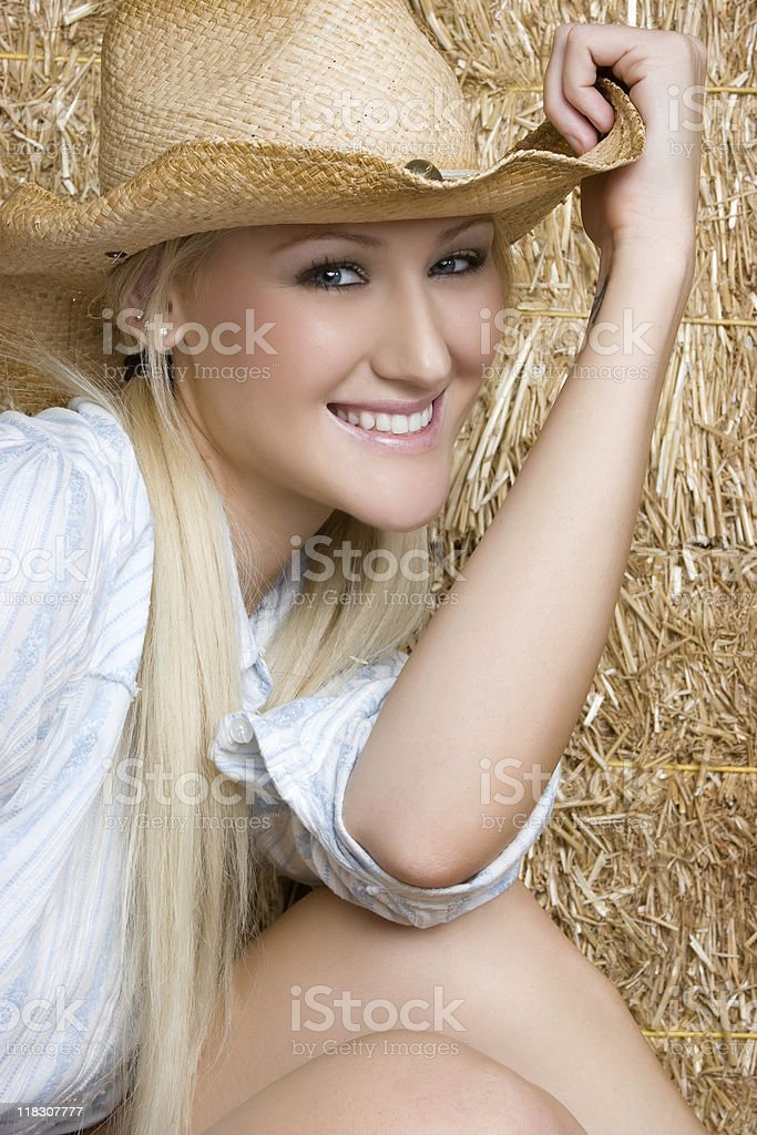 Pretty Blond Cowgirl royalty-free stock photo