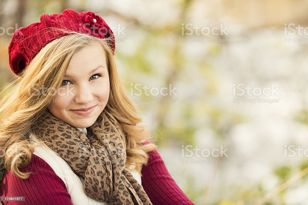 Pretty Blond Female Outdoors in Autumn with Copy Space royalty-free stock photo