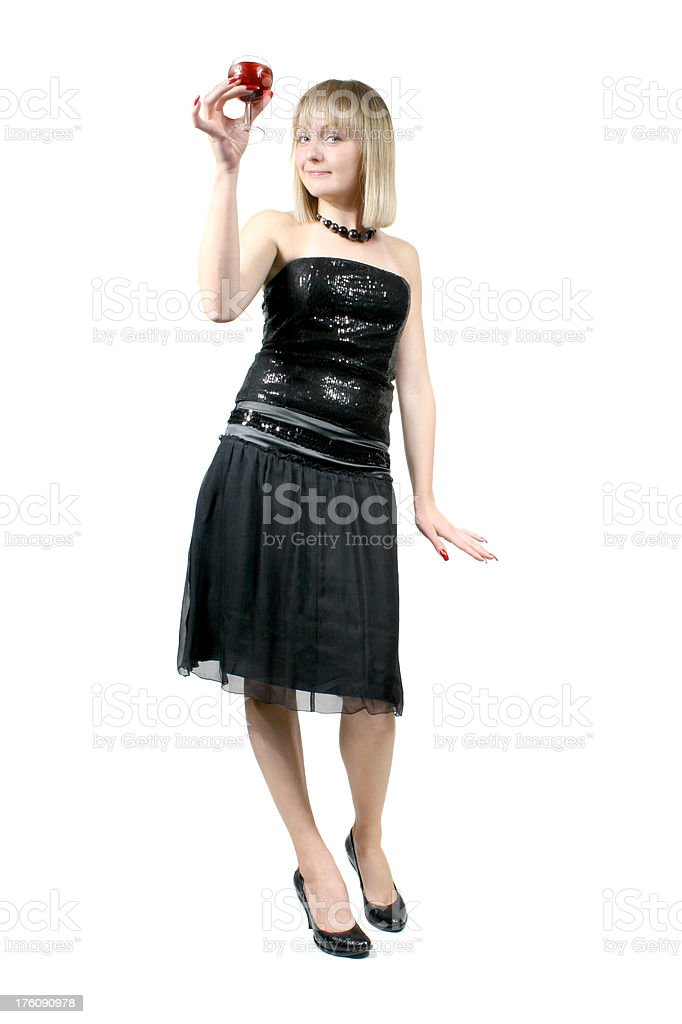 Pretty blond girl in black dress with glass of wine royalty-free stock photo