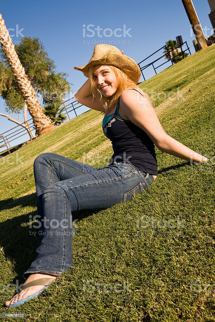 Pretty Blond on the Grass stock photo
