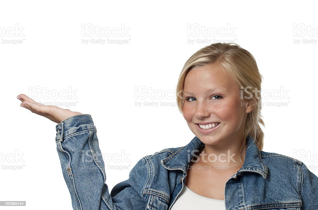 Pretty Blond Teen with Hand Extended stock photo