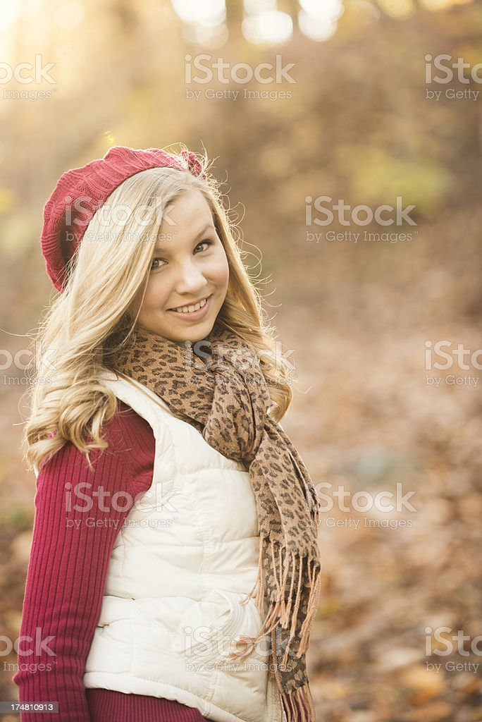 Pretty Blond Woman Back-lit in Autumn royalty-free stock photo