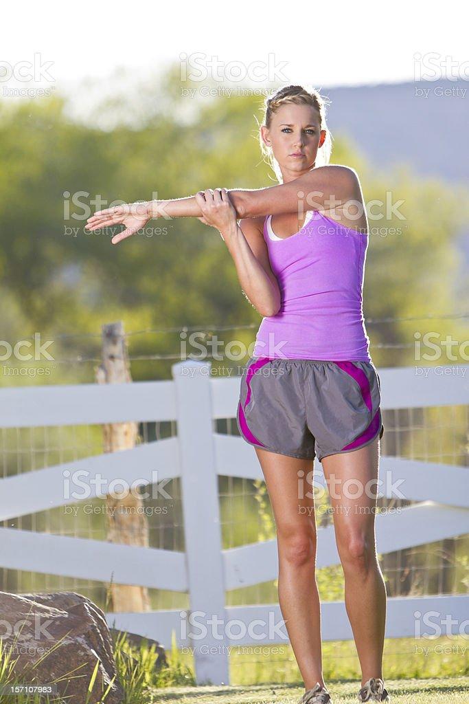 Pretty Blond Woman Stretching stock photo