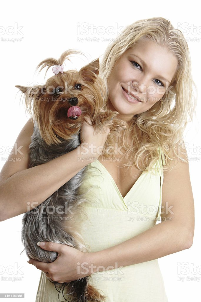 Pretty Blond Woman with her dog royalty-free stock photo