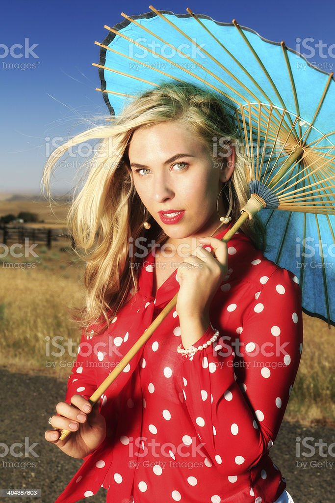 Pretty Blonde with Oil Paper Umbrella royalty-free stock photo