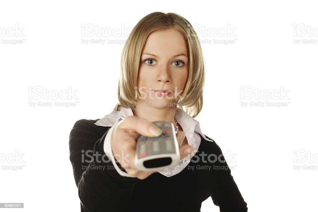 pretty blonde with TV remote royalty-free stock photo