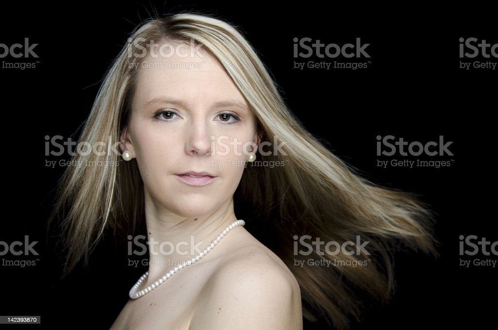 Pretty Blonde Woman Dancing royalty-free stock photo
