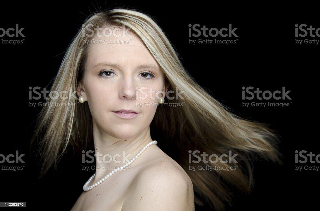 Pretty Blonde Woman Dancing stock photo
