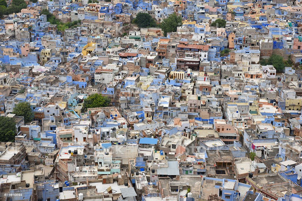 Pretty Blue City Jodhpur stock photo
