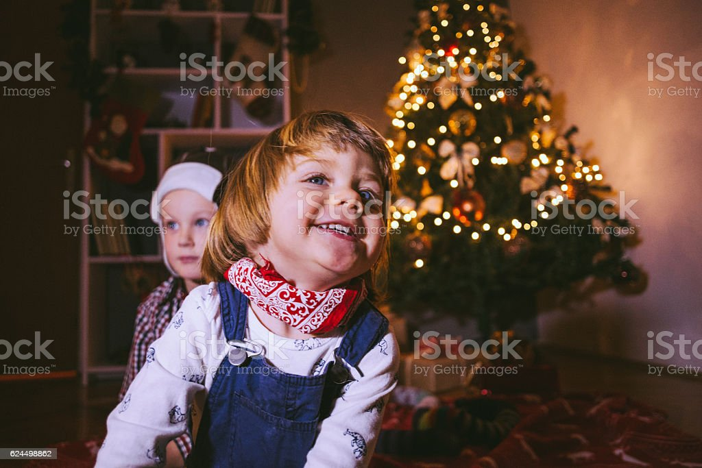 Pretty Boys Enjoying Christmas stock photo