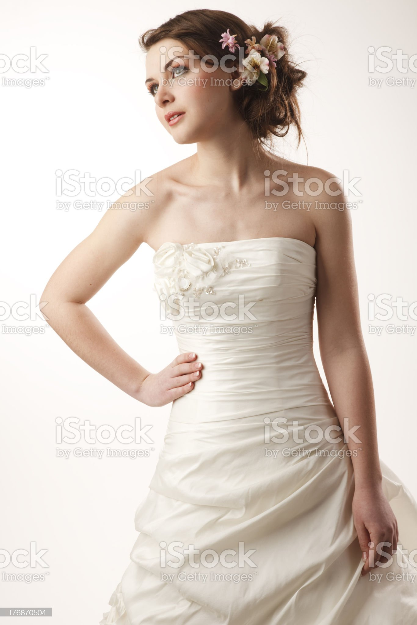Pretty bride looking away. royalty-free stock photo