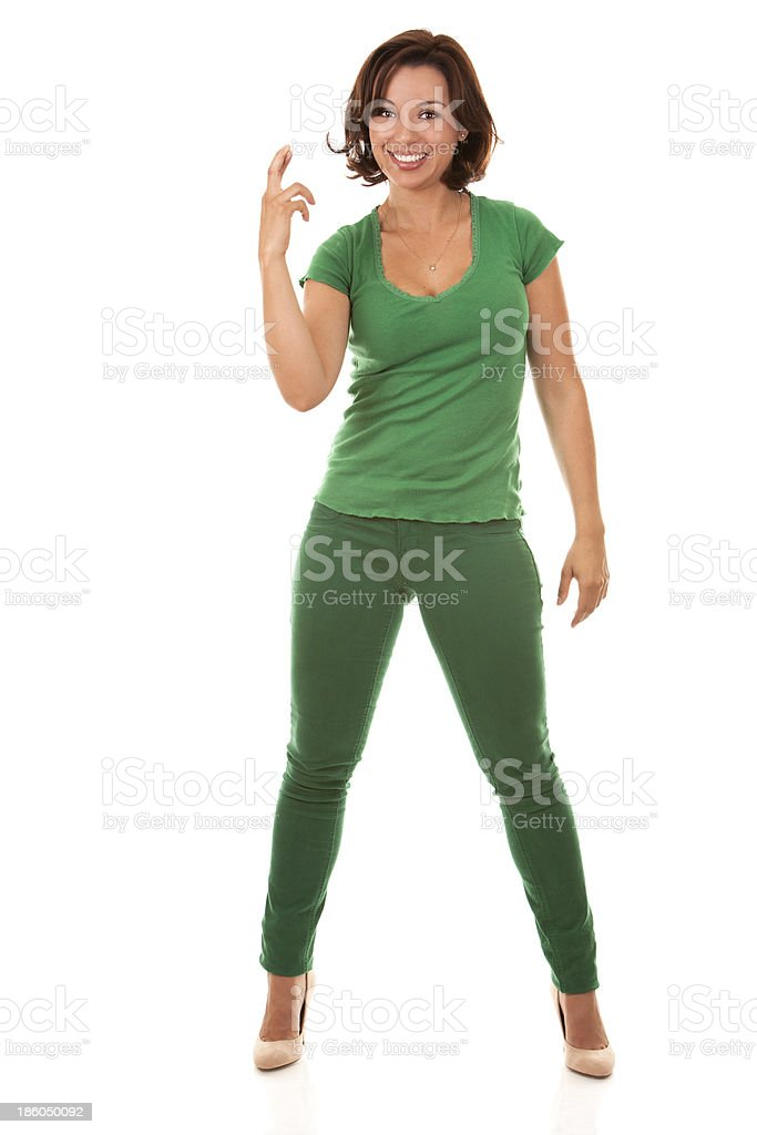 pretty brunette in green royalty-free stock photo
