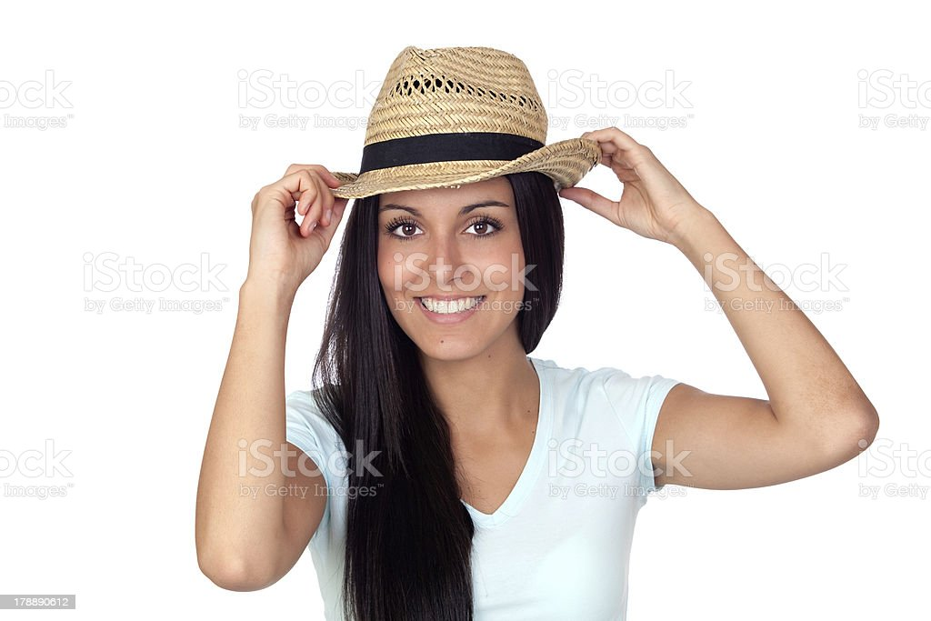 Pretty brunette woman with straw hat royalty-free stock photo