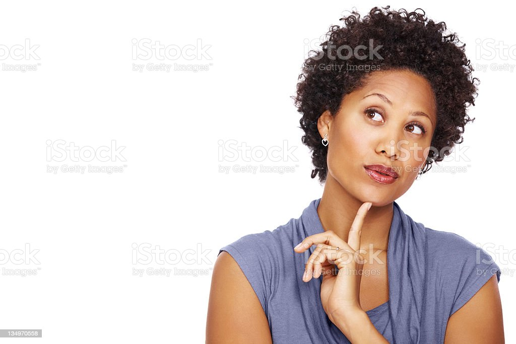 Pretty business woman daydreaming stock photo