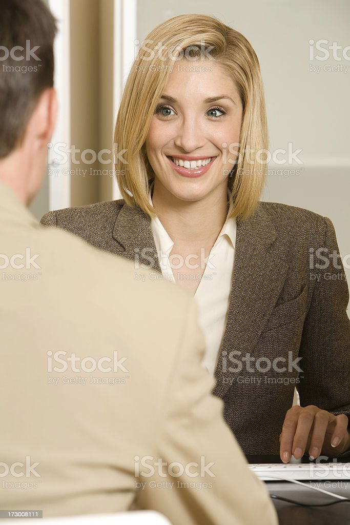 Pretty Businesswoman in Interview. royalty-free stock photo