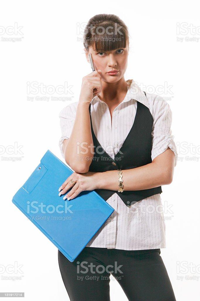 Pretty businesswoman thinking stock photo