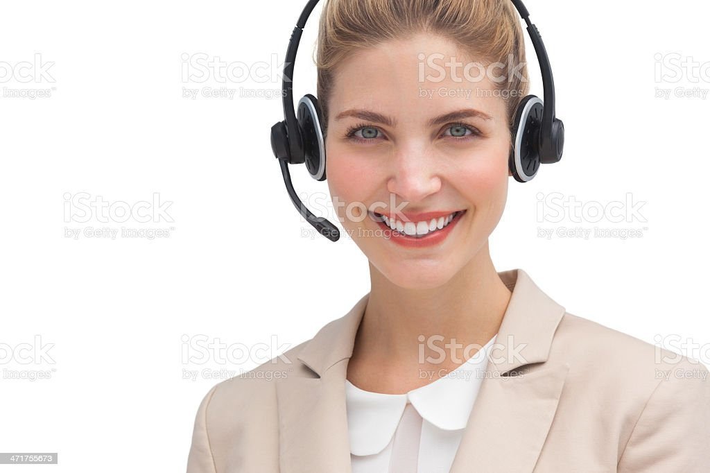 Pretty businesswoman with headset royalty-free stock photo