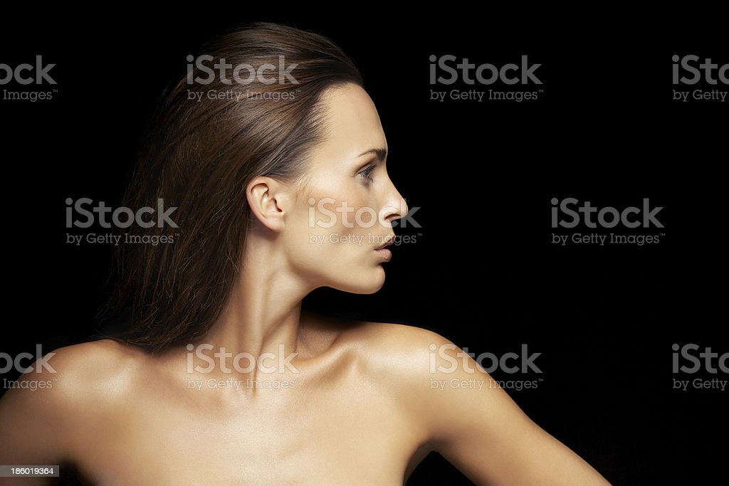 Pretty caucasian female model with glowing skin royalty-free stock photo