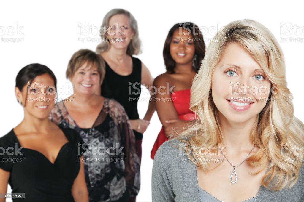 Pretty Caucasian Woman With Group of Happy Women royalty-free stock photo