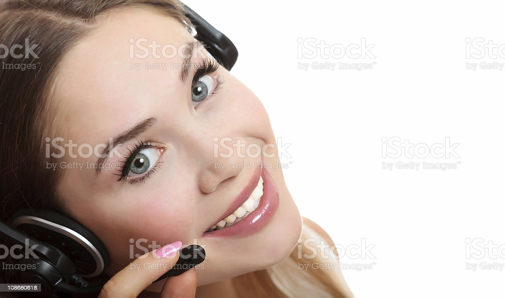 Pretty caucasian woman with headset royalty-free stock photo