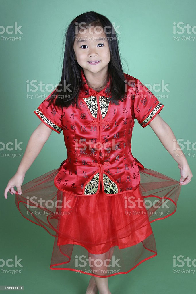 Pretty Chinese girl in traditional outfit stock photo