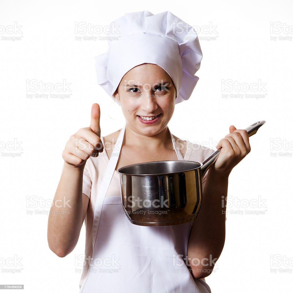Pretty cook woman saying Ok royalty-free stock photo
