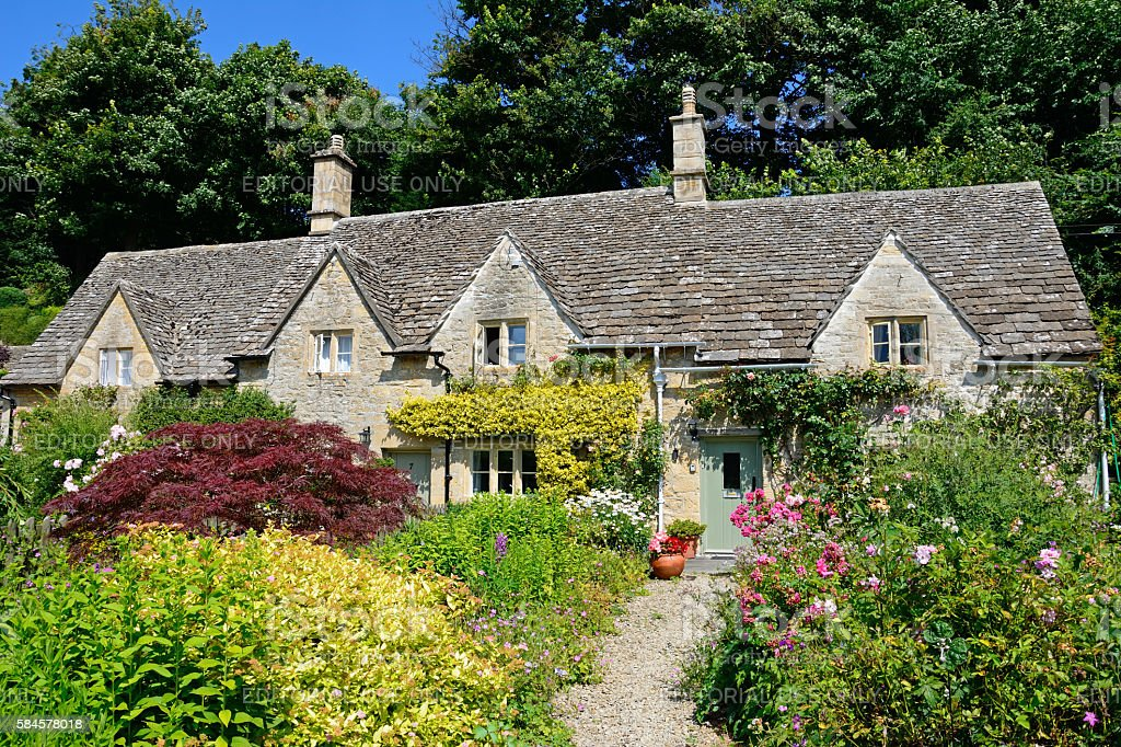 Pretty Cotswold cottage, Bibury. stock photo