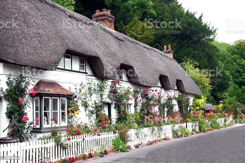 A pretty countryside cottage surrounded by flowers stock photo