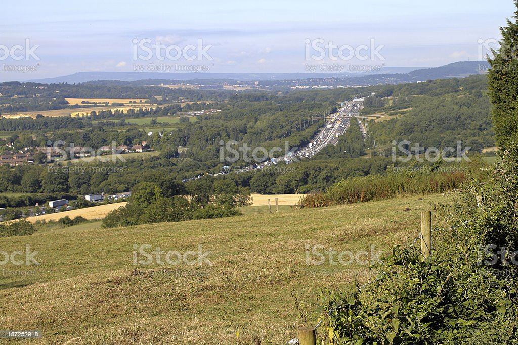 View from the Surrey Hills towards M25 and Godstone royalty-free stock photo